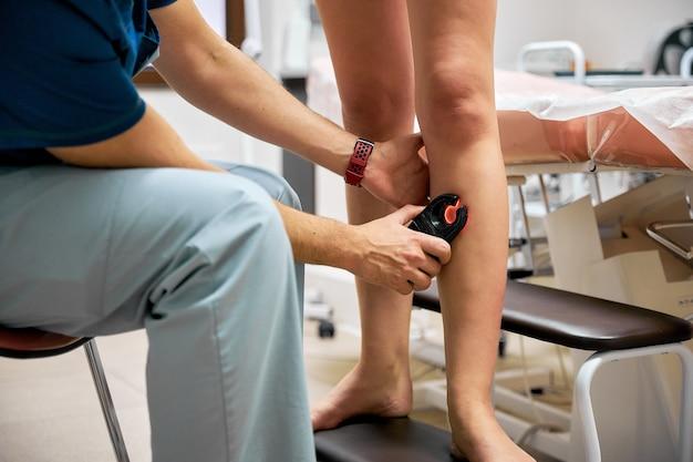 Medical surgery on leg, varicose veins, vascular surgery.