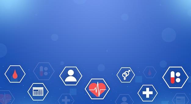 Медицинские символы в гексагональной рамке на синем фоне технологии 3d Premium Фотографии