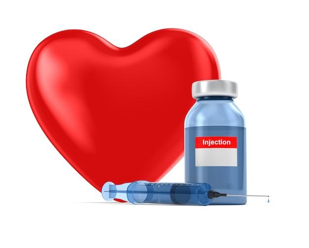 Медицинский шприц и сердце. изолированный 3d-рендеринг