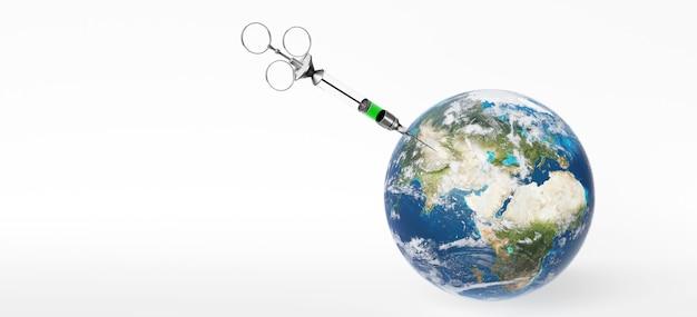 Медицинский шприц с иглой привит планете земля. 3d-рендеринг. элементы этого изображения предоставлены наса.