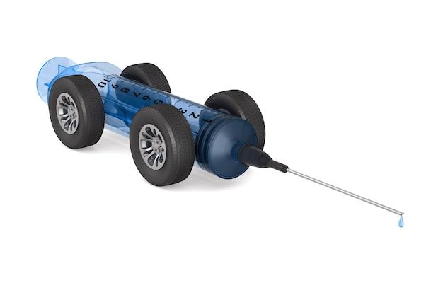 車輪付きの医療用注射器。分離された3dレンダリング