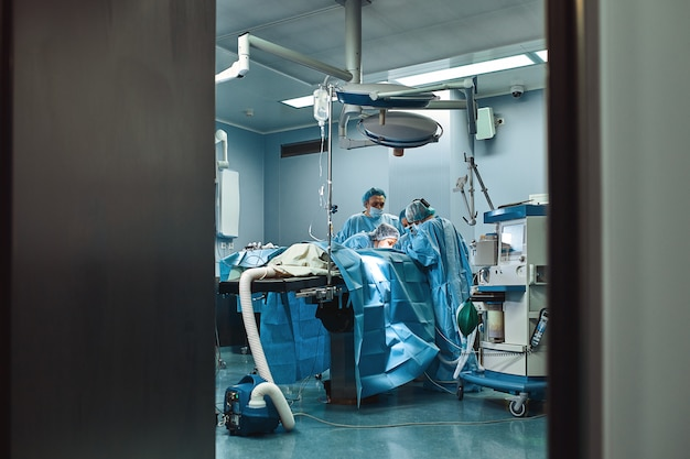 Medical team is preparing the operating room for a complex operation