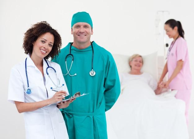 Medical team taking notes