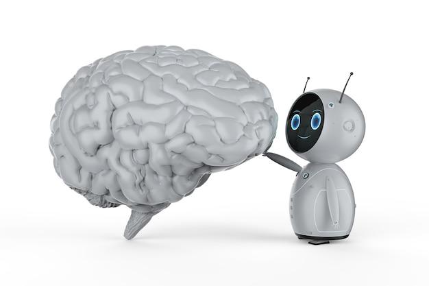 흰색 두뇌와 3d 렌더링 인공 지능 로봇 의료 기술 개념