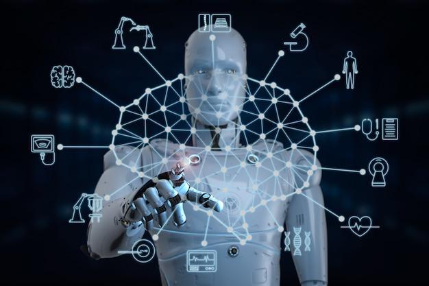 의료 hud 인터페이스와 함께 작동하는 3d 렌더링 ai 로봇을 사용한 의료 기술 개념