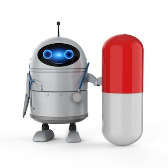Концепция медицинских технологий с 3d-рендерингом, рука робота-андроида, держащая медицинскую капсулу