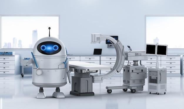 Концепция медицинских технологий с 3d-рендерингом робота android с машиной c-arm