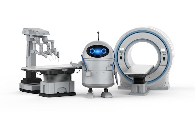 Концепция медицинских технологий с 3d-рендерингом робота-андроида с мрт-сканером и хирургическим роботом