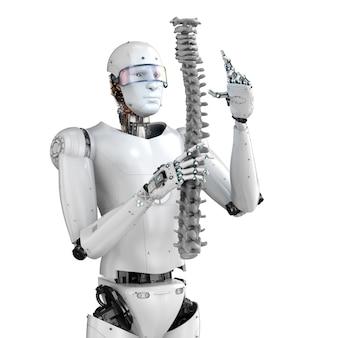 인공 척추와 3d 렌더링 사이보그와 의료 기술 개념