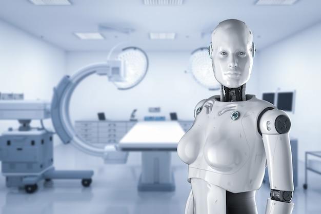 Концепция медицинских технологий с 3d-рендерингом женщин-киборгов с помощью машины c-arm