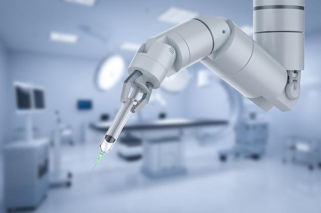 Концепция медицинских технологий с 3d-рендерингом, роботизированный ручной шприц в хирургической комнате