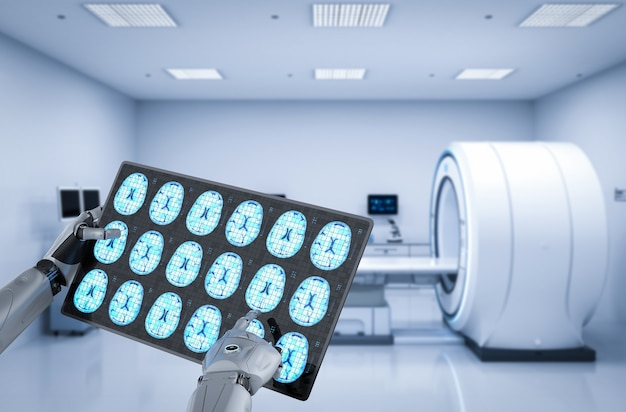 Medical technology concept with 3d rendering robot with tablet display x-ray brain