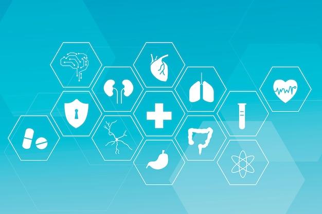 건강과 웰빙을위한 의료 기술 아이콘 세트