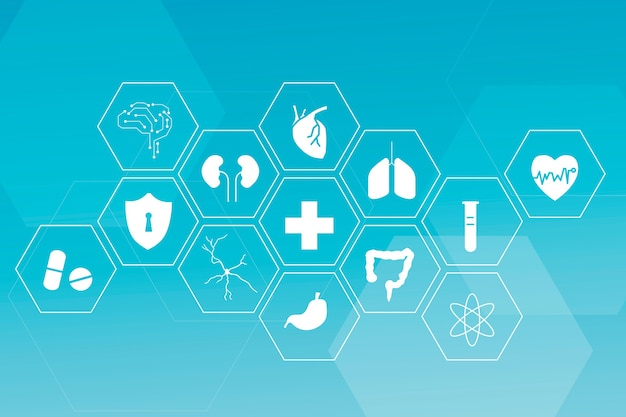 Medical technology icon set for health and wellness
