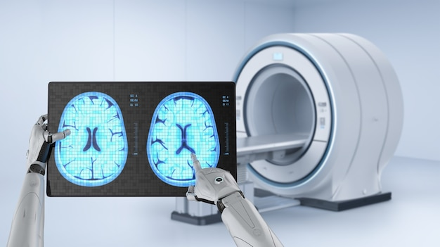 Medical technology with robot with tablet display xray brain
