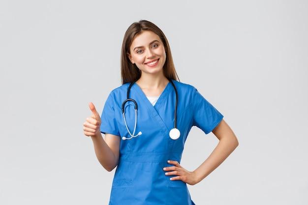 Медицинские работники, здравоохранение, covid-19 и концепция вакцинации.
