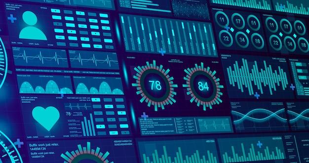 Медицинский интерфейс с индикаторами медицины человека на экранах на технологическом фоне 3d