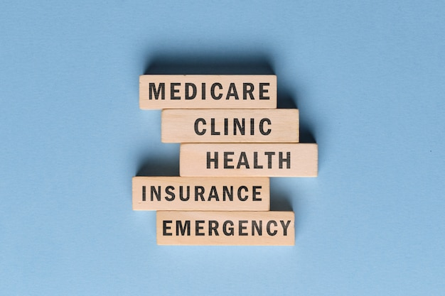 Medicare concept - wooden blocks with text on a blue space.