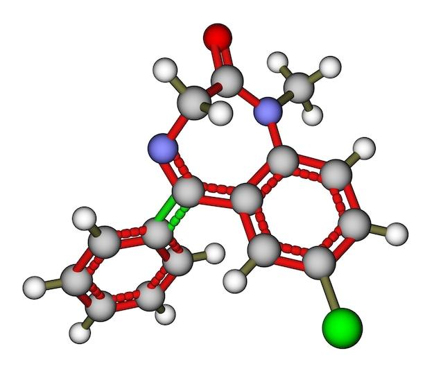 Молекулярная структура лекарства диазепам