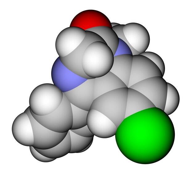 Молекулярная модель заполнения пространства лекарством диазепам