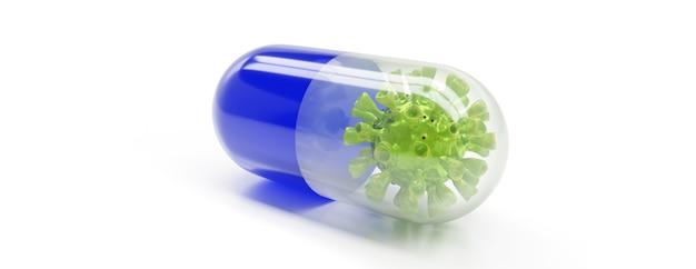 Лекарство противовирусной капсулы для лечения и профилактики инфекции вируса короны. 3d-рендеринг.