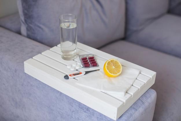 Medication on white tray