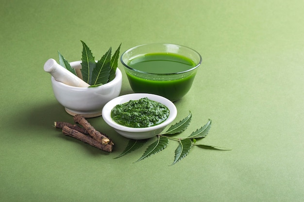Medicinal neem leaves in mortar and pestle with neem paste, juice and twigs on green