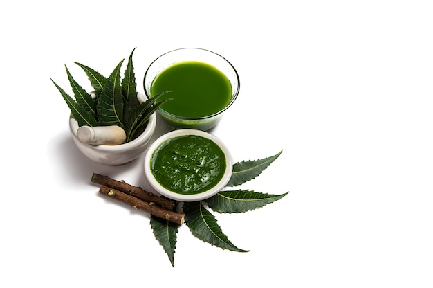 Medicinal neem leaves in mortar and pestle with neem paste, juice and twigs on white background