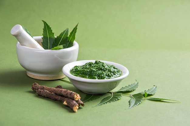Medicinal neem leaves in mortar and pestle with paste and twigs on green wall