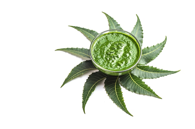 Medicinal neem leaves with paste in bowl on white surface.