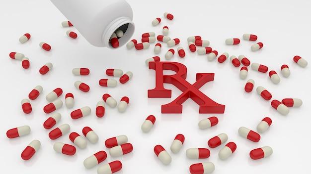 Rx 기호가 있는 약병 및 캡슐. 3d 렌더링