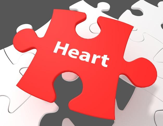 Концепция медицины: сердце на белом фоне кусочков головоломки, 3d визуализация