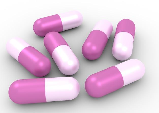 의학 개념입니다. 흰색 절연 캡슐 알약의 그림