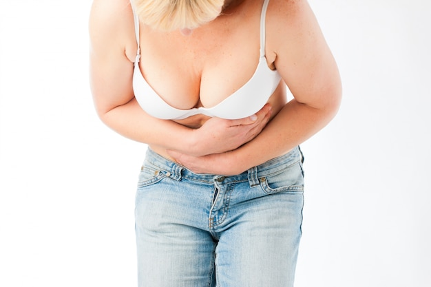 Medicine and disease - stomach pain or abdominal cramps