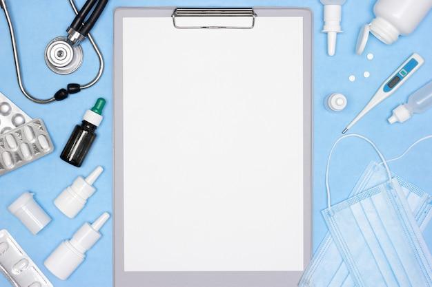 Фон макета медицины с копией пространства