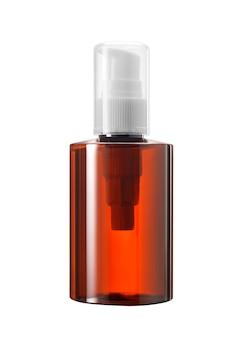 갈색 유리 또는 흰색 펌프 스포이드 및 흰색 배경에 고립 된 명확한 모자와 플라스틱의 의학 또는 화장품 병