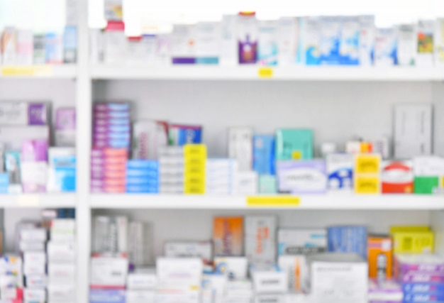 Medicine on shelves in pharmacy interior