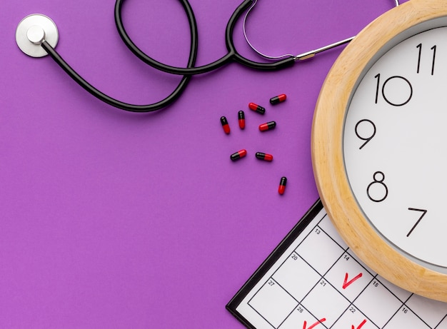Medicine on time with stethoscope