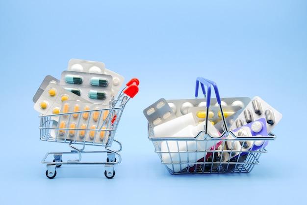 Лекарства в корзине и тележке