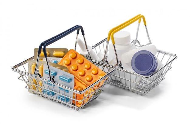 Medicines in a metal basket