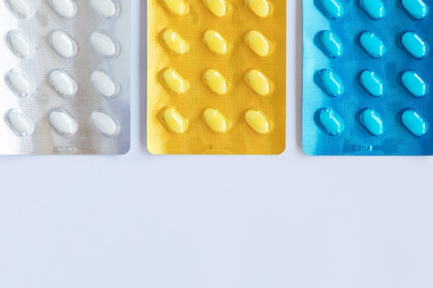Medicines pills in a blister pack. healthcare concept