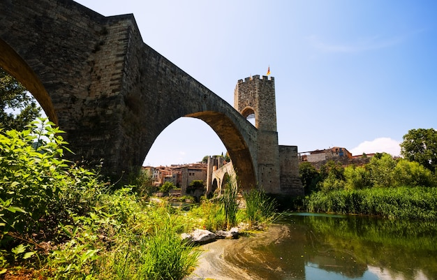 Medieval bridge. besalu, catalonia
