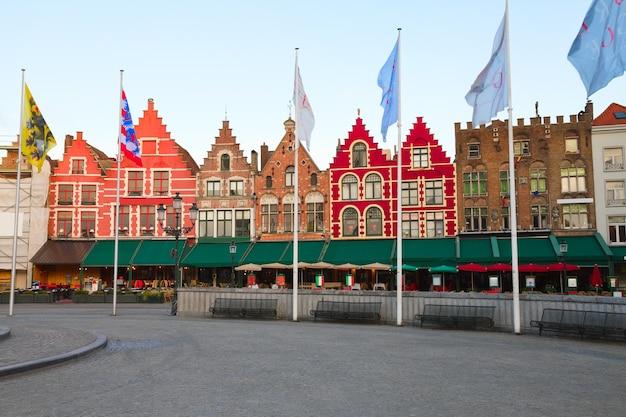 Medieval buildings on the market square, bruges, belgium