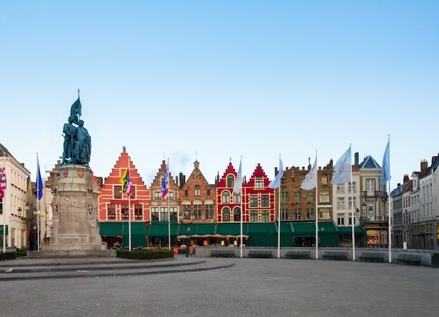 Medieval buildings on the market square, brugge, belgium