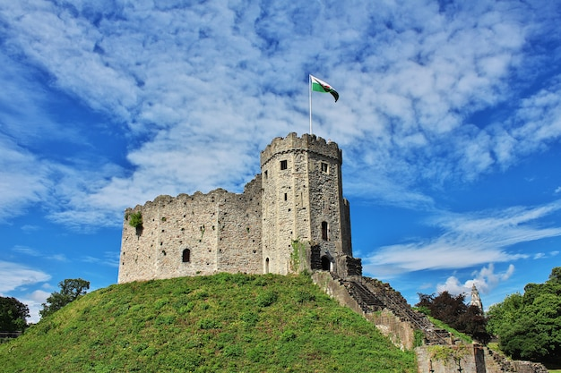 The medieval cardiff castle in wales, uk