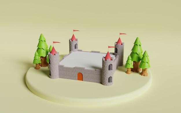 中世の城の3dレンダリング