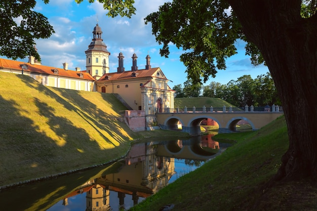 晴れた夏の日、ベラルーシのベラルーシの町nesvizhの中世の城。