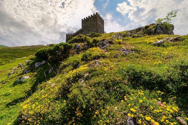 Средневековый замок на вершине холма с разноцветными цветами на горе. argueso santander.