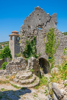 Medieval chapel is located in the castle among the mountains