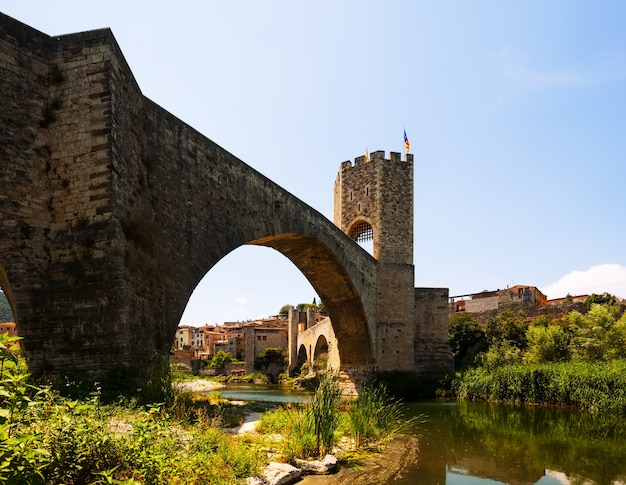 Medieval fortifications and the bridge. besalu